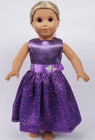 "New arrival! Elegant 18"" American Girl Doll party dress with paillettes Bling/Glitter toy wear/costume/skirt Baby/kid present"