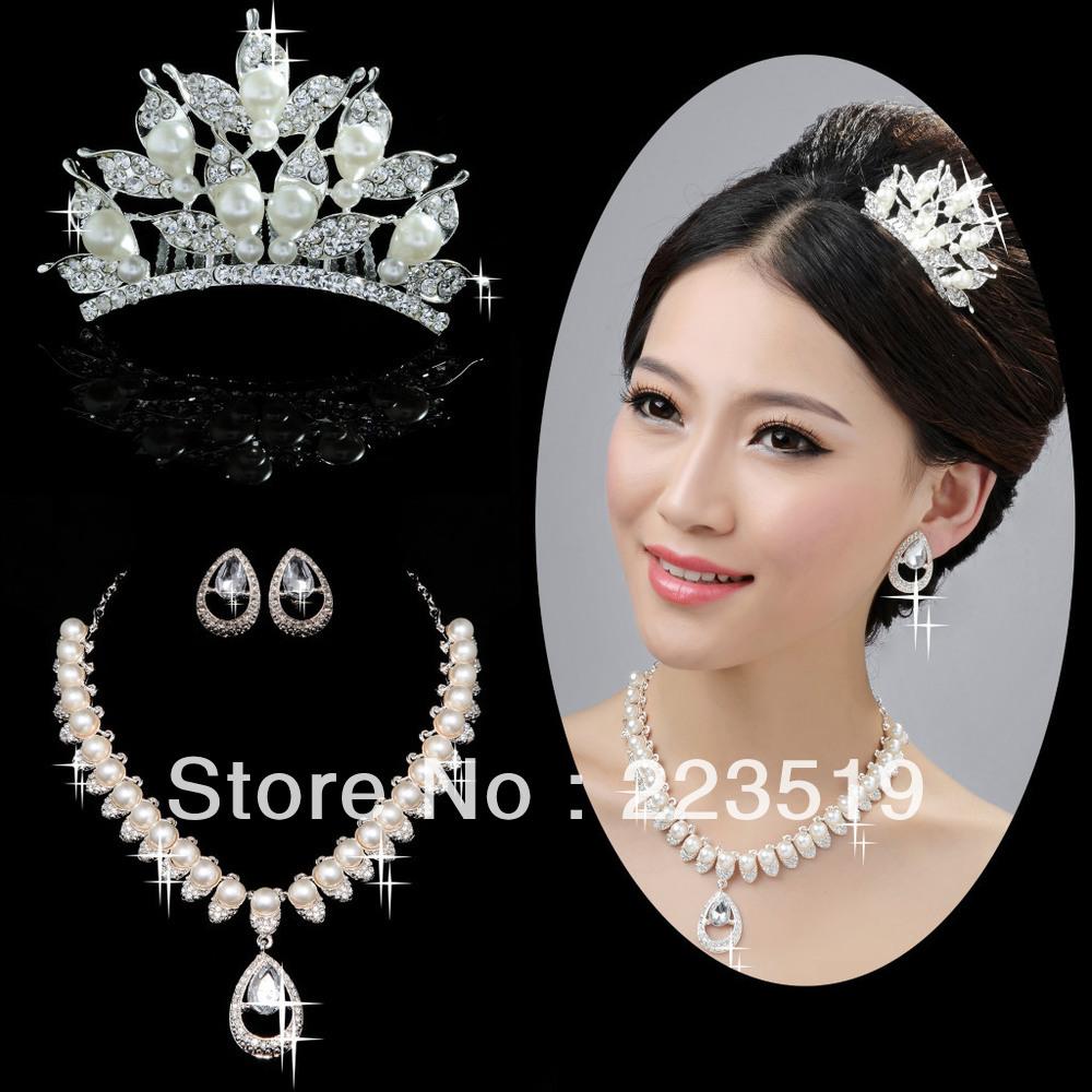 Fabulous ! Bridal Pearl wedding accessories Crown headdress Necklace Set pearl  1000 x 1000 · 209 kB · jpeg
