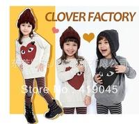 Free shipping 5set/lot Fashion Baby Girls Cartoon Long T-shirt +100%cotton Stripe pants 3T-8T Hot Selling  1121