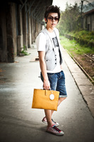2013 thick leather casual business men bag Bai Ling black clutch bag Datagram