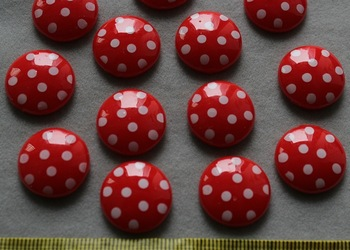 set of 100pcs Resin Flatback Cute polka dots red round gem cabochon Cabs -DIY scrapbook, hair bow and flower centers