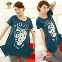 Summer new arrival 2013 female loose short-sleeve T-shirt plus size female cotton shirt free shipping