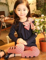Children's clothing female child spring 2013 stripe bow child set spring and autumn sports children's clothing