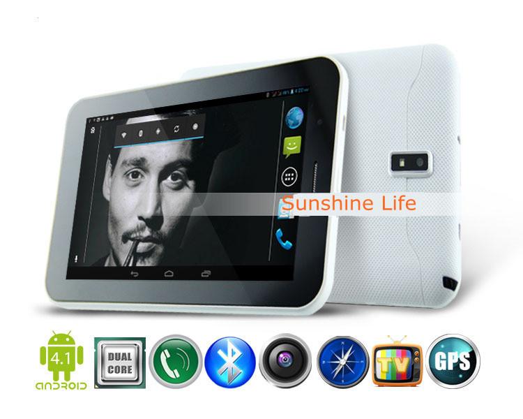 7 inch Andriod 4.1 tablet pc MTK8377 dual core build-in 3g GPS, dual camera dual sim card slot bluetooth ATV
