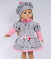 Fashion American Girl Doll dress set (shirt+skirt+cap) Sweety toy costume/wear/outfit kid/children/baby gift Many styles