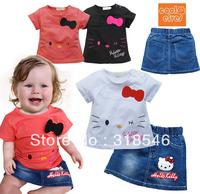 FREE SHIPPING 5sets/ lot girls summer clothing set hello kitty t-shirt+ hello kitty denim skirt