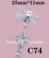 Free Shipping 20pcs/Bag 25*11mm Cross Style 3D Metal Nail Art Decorations Shining Rhinestones Alloy Crystal Metallic Diamond C74