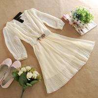 Elegant ladies women's gentlewomen embroidered lace chiffon one-piece dress juniors dress short-sleeve summer one-piece dress
