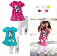 FREE SHIPPING 5sets/ lot girls summer clothing set hello kitty t-shirt+ white pant