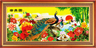 Handmade crafts ornaments collectibles finished cross stitch Blossoming Spring Peacock Figure shipping(China (Mainland))