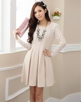 2013 spring women's polka dot o-neck long-sleeve chiffon lace one-piece dress spring
