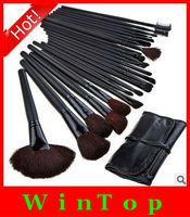 Free shipping,big discount ! 24 pcs Professional Makeup Cosmetic Brush set Kit + black leather case 24-3#
