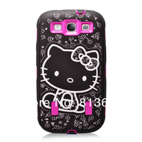 Hello Kitty Hybrid Hard Back Case for Samsung Galaxy S3 I9300  Hot Pink High Impact Bow Cover Via Free DHL