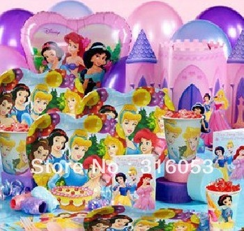 6Kids Free Shipping Birthday Decor Princess Theme Paper Cup Paper Plate Paper Hat Straw Blow Pipes Candle Themes Party Suppliers