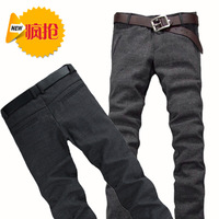 Spring men's clothing casual pants male linen pants slim straight long trousers pants 2013