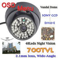 700TVL SONY CCD OSD Menu 48pcs LED 2.8mm lens Wide Angle CCTV Vandal Dome Camera