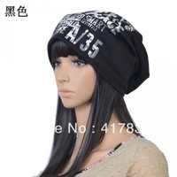 2013 new letters printed knitted wool winter beanies hat for men and women free shipping black