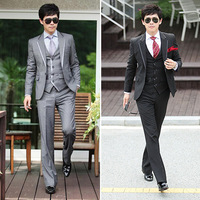 2013 spring new Leisure fashion  simple  generous luxury elegant satin three piece set   block man 's suit  Free shipping