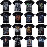 Men's t shirt 3d wolf print t shirt short sleeve brand animal tops100% cotton summer  M-4XL big size tees