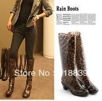 2013 Female rainboots rain boots women's rain shoes high water shoes high leopard print rainboots rain boots
