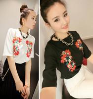 Spring national embroidery trend top t-shirt basic women's shirt short-sleeve shirt