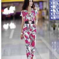 2013 women's chinese style chiffon jumpsuit bodysuit female belt