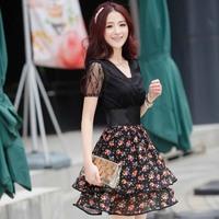 2013 women's summer patchwork short-sleeve ol slim one-piece dress female summer tube top skirt