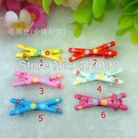 Free shipping! Popular children's hair clip pin han edition cross - BB clip  print floral + cat head, 100 PCS/bag
