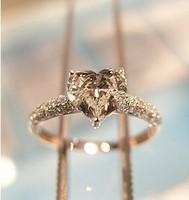 PROMOTION Bezel Set Platinum Diamond Wedding Rings For Women 925 Sterling Silver Heart Ring 1Carat Diamond Ring Promise Rings