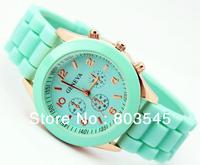 2013 Hot selling Unisex Geneva Silicone Jelly Gel Quartz Analog Sports Wrist Watch gift watches for men &Women free shiping