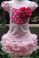 wholesale Cute Cartoon pattern t shirt +beautiful pink skirt 5sets/lot  free shipping CG51