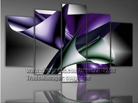 5 Panels 100% Handpainted High End Purple Wall Art Abstract Oil Painting on Canvas Home Decoration