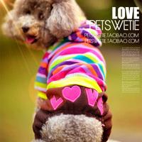 Colorful fantasy bubble stripe pet clothes dog clothes four-legged pants Spring and Autumn puppy four-legged pants