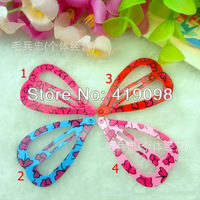 Free shipping! Popular children's hair clip - 4 cm heart-shaped BB clip - printing lovely butterfly clamp series, 100 PCS/bag