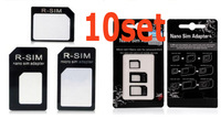 Free Shipping (30PCS) 10Set/Lot Nano SIM Adapter For Iphone 5 3 In 1 From Nano to Micro Mini Sim With Retail Box (hankai