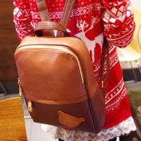 Mushroom hot PU color block bear backpack fashion backpacks women's handbag casual bag Free Shipping
