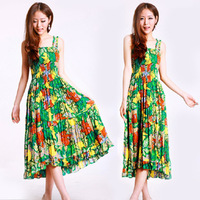 Summer plus size print bohemia full dress cotton full dress beach dress
