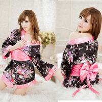Short kimono women's spring and summer sexy temptation bathrobe ultra-thin temptation robe  wholesale clothing