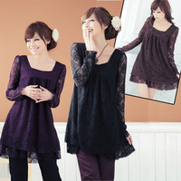 2013 Hot sale Elegant lady maternity clothing Hollow Out lace loose dress pregnant fat women cute A-line dress