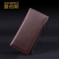 Free shipping Long design wallet first layer of cowhide male wallet stripe zipper clutch