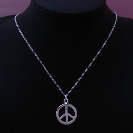 P117 Hot Sale Sterling Silver 925 Peace Symbol Pendant Necklace Fashion 925 Sterling Silver Jewelry(China (Mainland))