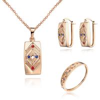 18K Gold Plated Nickel Free Necklace Earrings Bracelet Sets 2013 Latest Fashion Jewelry Set S070