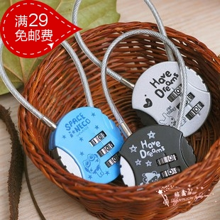 Korea stationery digital lock steel wire rope password lock cartoon circle