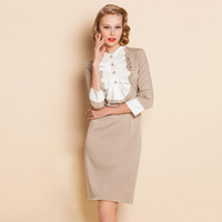Spring fashion women's 2013 color block stand collar three quarter sleeve ruffle slim one-piece dress