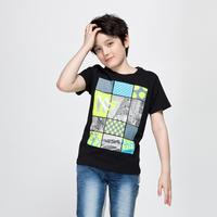 Xiaxin BALABALA male ploughboys casual geometric patterns 100% graphic o-neck cotton short-sleeve T-shirt child