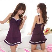 Sexy sleepwear women's underwear temptation purple spaghetti strap picotee short skirt sexy set tube top pure one piece