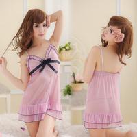 Summer sexy sleepwear female faux silk gauze spaghetti strap nightgown pink laciness translucent underwear the temptation to set
