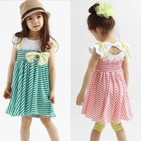 2014 Rushed Vestido Infantil Baby Girls Dress Children's Clothing Female Child Summer Stripe Faux Two Piece Short-sleeve Dress