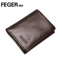 Free shipping Modern feger cowhide wallet three-fold short design black male short design wallet