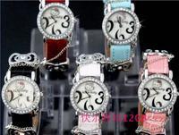 Wholedale Guaranteed 100% New Crystal Diamond bow-knot Hello kitty Ladies Girls Womens Quartz Wrist Watch 30pcs/lot